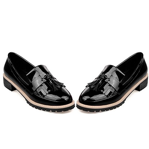 Balamasa Femmes Pull-on Chaton-talons Slip-résistant En Cuir Imité Pompes-chaussures Noir