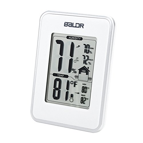 BALDR Weather Station, Displays Humidity and Temperature, Min, Max, and Trend Indicator, White