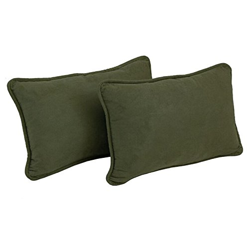 (Blazing Needles Corded Solid Microsuede Rectangular Throw Pillows with Inserts (Set of 2), 20