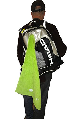 Springcreek Gear Hangable, 100% Cotton Tennis Towel with a Hook (Black and Tennis Ball Green) (Green)