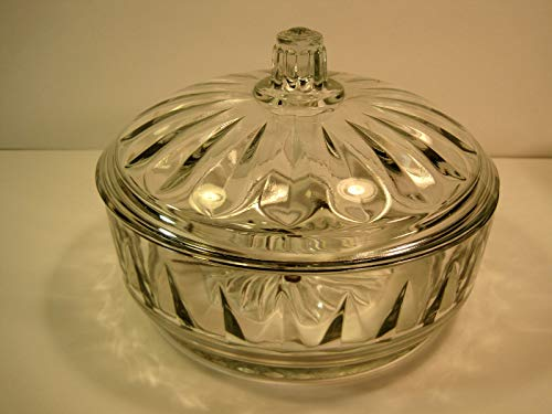 Lidded Candy - Candy Dish, Vintage Lidded Glass 7 Inches, 1960's
