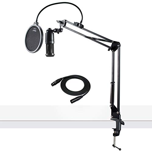 Audio-Technica AT2020 Condenser Studio Microphone with XLR Cable Knox Studio Stand and Pop Filter Audio Technica Recording Package