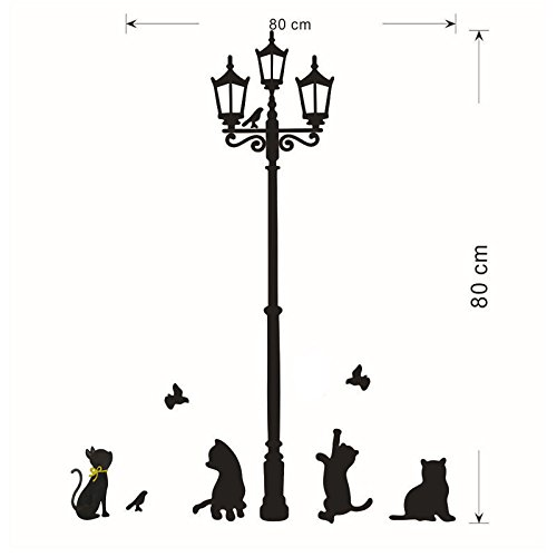 Anyren Removable Cute Lovely Cats Street Lamp Lights Stickers Wall Decal Removable Art Vinyl Decor Family DIY Cartoon