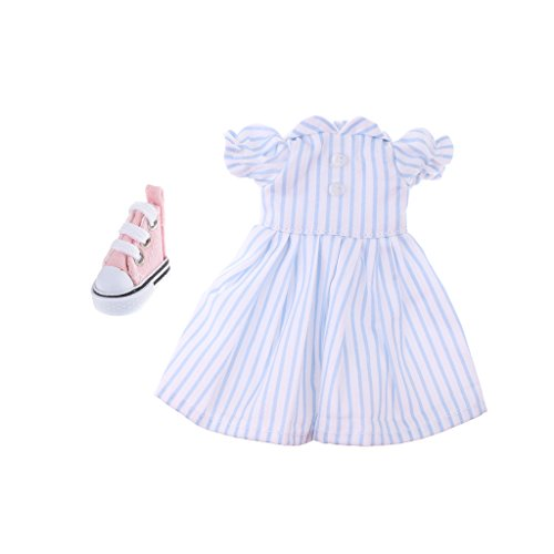 MagiDeal Lovely Blue Striped Dress Sneakers Shoes Suit for 1/6 BJD SD Dollfie LUTS DZ Doll Clothing Accessories