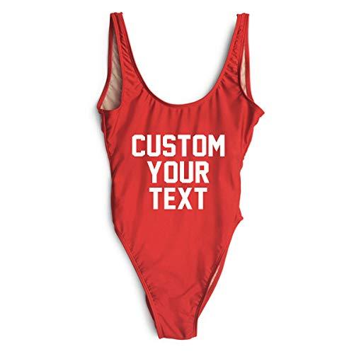 Custom Text One Piece Swimsuit Bikini Bodysuit Red ()