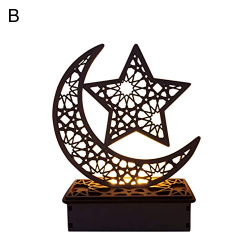 Friendly Ornaments Eco - Musitelying Wooden Moon Shaped Muslim Palace LED Lamp Table Ornament Festival Decoration Eco-Friendly Ornament B