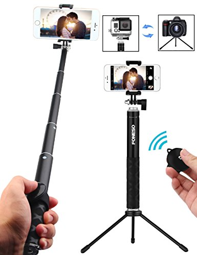 Selfie Stick Tripod with Bluetooth Remote for iphone 6 6s 7 plus Android Samsung Galaxy S7 S8 Plus Edge, Foneso 3 in 1 Pocket Extendable Aluminum Alloy Monopod, Support Photo & Video from Foneso