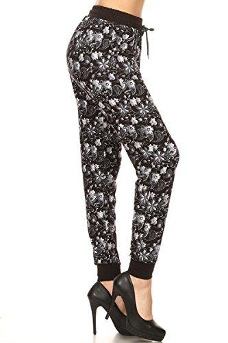 Leggings Depot JGA-R682-XL Paisley Floral Print Jogger Track Pants w/Pockets, X-Large