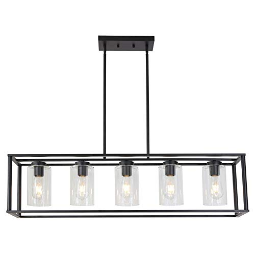 VINLUZ Contemporary Chandeliers Black 5 Light Modern Dining Room Lighting Fixtures Hanging, Kitchen Island Cage Pendant Lights Farmhouse Flush Mount Ceiling Light with Glass Shade Adjustable - Chandelier Island Wide