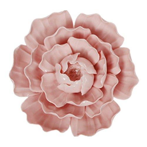 Handmade Ceramic Flowers Three-dimensional TV Sofa Background Wall Decorations Creative Living Room Ornaments (L, Pink)