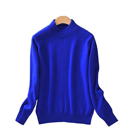 Always Pretty Women's Slim Mock Neck Wool Knit Jumper Sweater Tops Pullover Royal L