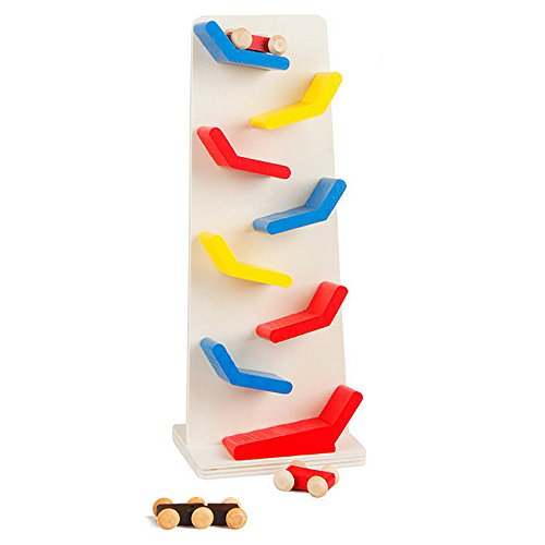 BYP 8 Level Ramp Racer Wooden Junior Size Ramp Race Three Mini Cars -