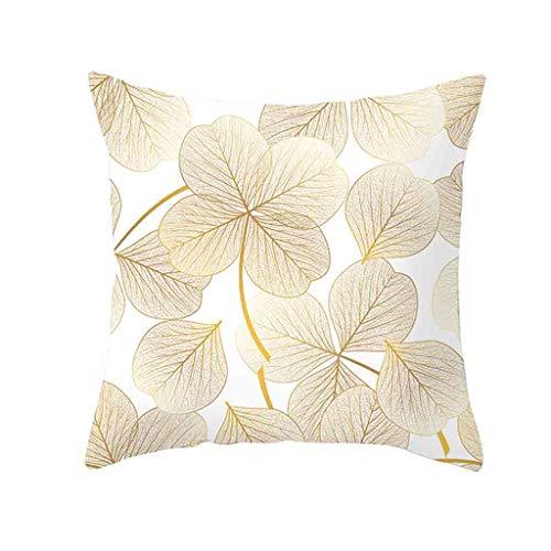 YESWOMAN Gold Plant Printed Polyester Pillow Case Sofa Waist Cushion Cover Home Square Form Premium Decor