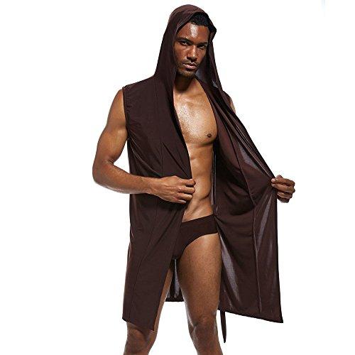 La Rodilla Conjuntos Pijama De Camisón Sedoso Marrón Hombres Con Los Hasta Mangas Sin Keephen Bata Capucha 18qwaa