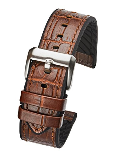 Genuine Alligator Grain Leather Watch Band with Silicone Lining - Brown - 22 mm