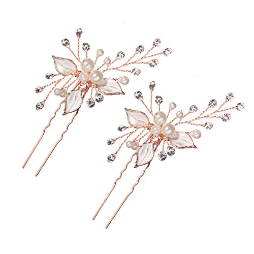 Feyarl Handmade Bridal Rhinestons Rose Gold Hair Pins Stick Silver Leaves Inlaid Pearl Sparkle Crystal Wedding Hair pins for Woman Girl Hair Decoration Prom(Rose Gold)