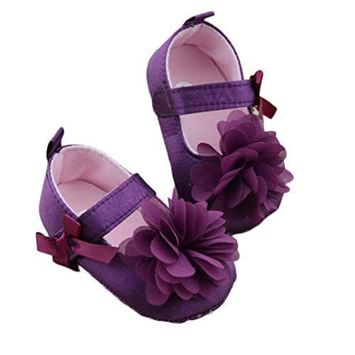 HP95(TM) Baby Girls Cloth Soft Sole Shoes Prewalker with Bowknot Flower (0~6 Month, Purple)