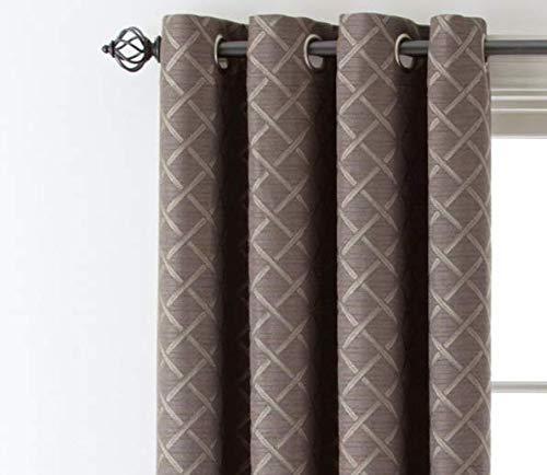 Quinn Lattice Rod-Pocket/Back-Tab Curtain Panel 50X84 Taupe Gray
