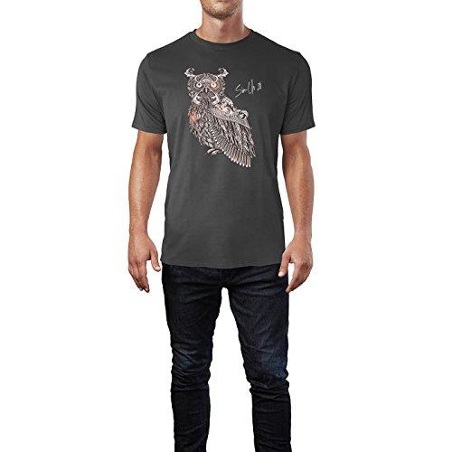 SINUS ART ® Eule im orientalischen Stil Herren T-Shirts in Smoke Fun Shirt mit tollen Aufdruck