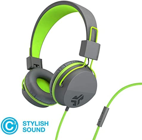 JLab Audio Neon Folding On-Ear Headphones Wired Headphones Tangle Free Cord Noise Isolation 40mm Neodymium Drivers C3 Sound Crystal Clear Clarity Graphite Green