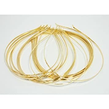 Amazon.com: 12 piezas 3 mm Metal Dorado Diademas para ...