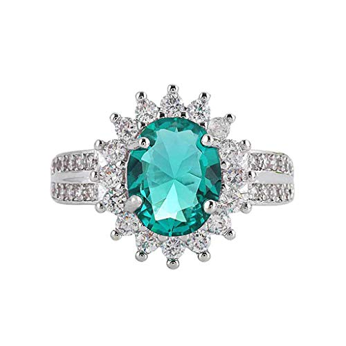 Muranba 2019 ! Luxurious Jewelry Elegant Diamond Green Sun Flower Zircon Pierced Ring (7)