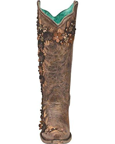 Stivaletto Ricamato Con Borchie Ricamate Di Lana Da Donna E Bottoni Da Cowgirl - Marrone A3602