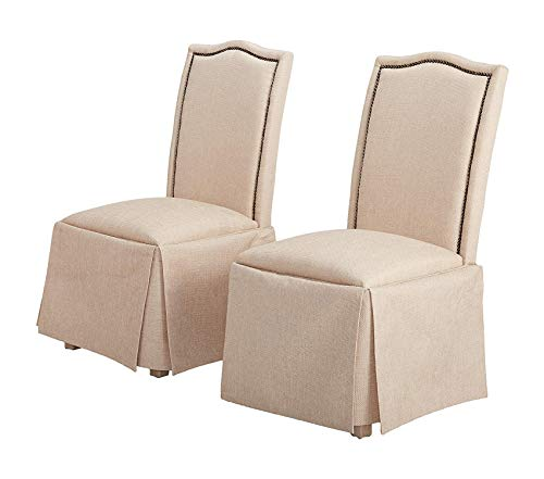 (Premium Parkins Skirted Parson Chairs Ivory and Rustic Amber (Set of 2))
