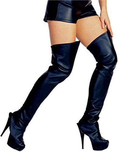 Thigh High Costumes Boots (Rubie's Costume Thigh High Boot Tops, Black, One Size)