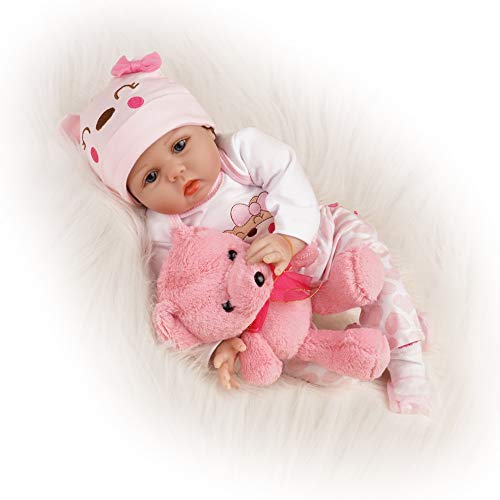 (TiaNara Reborn Baby Doll Girl Realistic Newborn Girl Pink Outfit with Toy Bear 22 Inches)