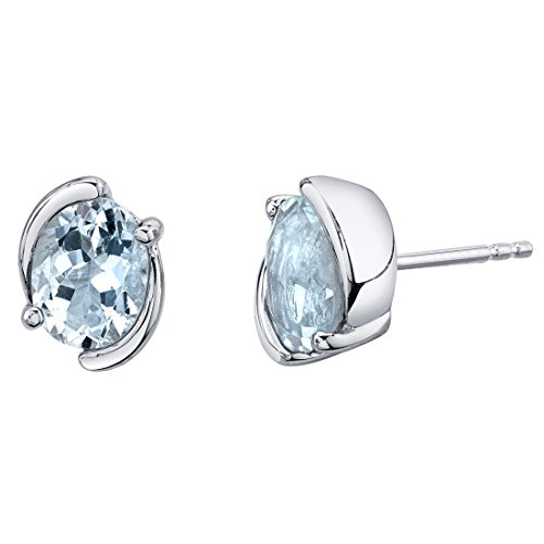 (Aquamarine Sterling Silver Bezel Stud Earrings 2.25 Carats Total)