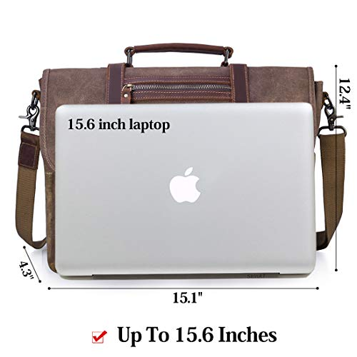 Mens Messenger Bag 15.6 Inch Waterproof Vintage Waxed Canvas Satchel Briefcase Shoulder Bag Retro Distressed Business Computer Laptop Leather Messenger Bag Brown by NUBILY (Image #4)