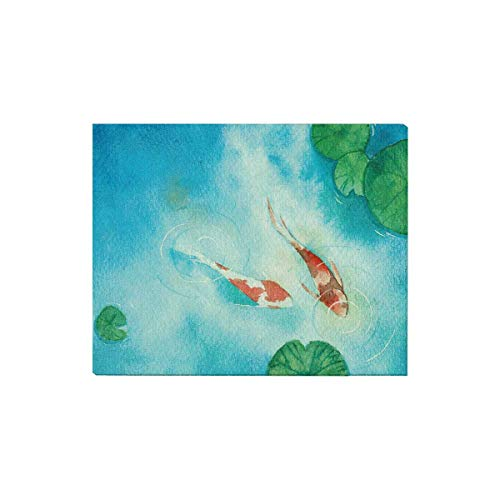 InterestPrint Watercolor Koi Carp Fish In Pond Symbol Of Good Luck and Prosperity Canvas Prints Wall Art Stretched and Framed Abstract Canvas Paintings Pictures for Wall and Home Decor, 20