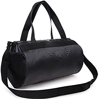 41GZ37UikZL. SS320 AUXTER Blacky Leatherette Gym Bag Duffel Bag Shoulder Bag for Men and Women Emboss Logo (Black)