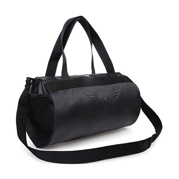 41GZ37UikZL AUXTER Blacky Leatherette Gym Bag Duffel Bag Shoulder Bag for Men and Women Emboss Logo (Black)