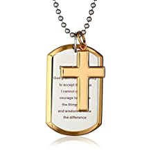 "Cold Steel Men's Stainless Steel Yellow Immersion ""Serenity Prayer"" Cross Dog Tag Pendant Necklace, 24"""
