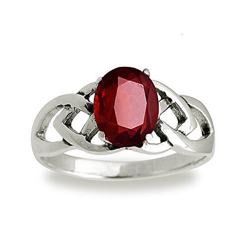 925 Sterling Silver 9 mm Genuine Oval Red Garnet Celtic Band Ring - Size 7