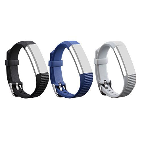I-SMILE 3PCS Newest Replacement Wristband With Secure Clasps for Fitbit Alta Only(No tracker, Replacement Bands Only) (Black&Navy&Grey)