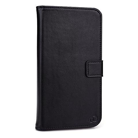Kroo Genuine Leather Flip Folio Wallet for Apple iPhone 6 Plus - Non-Retail Packaging - Black (12 South Iphone 6 Plus Dock)