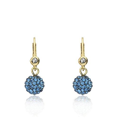 Molly Glitz Glitz Blitz 14k Gold-Plated Blue Crystal Ball Leverback Earring
