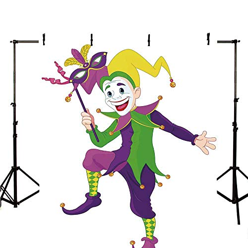 Mardi Gras Stylish Backdrop,Cartoon Style Jester in Iconic Costume with Mask Happy Dancing Party Figure for Photography,118