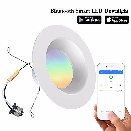 iLintek Bluetooth Smart LED Downlight Mesh Multicolor 6 Inch Recessed Lighting Color Changing RGB LED Light - Bluetooth App Group Smartphone Controlled for Halloween Christmas Party - No Hub Needed