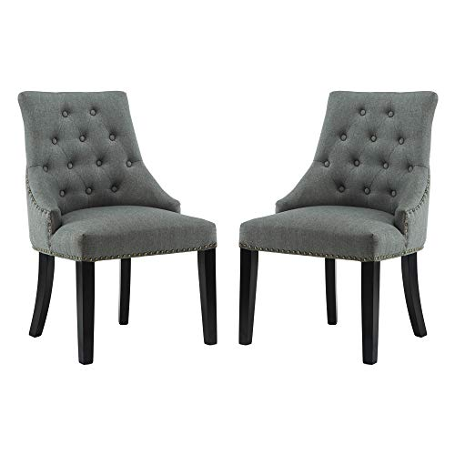 DAGONHIL Fabric Dining/Accent Chairs (Set of 2) with Black Solid Wooden Legs,Nailed Trim (Gray) (Accent Chairs Fabric)