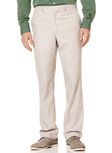 Perry Ellis Big & Tall Khaki Beige Natural Linen Cotton Flat Front Dress (Perry Ellis Khaki)