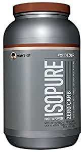 Isopure Zero Carb Protein Powder, 100% Whey Protein Isolate, Keto Friendly, Flavor: Cookies & Cream, 3 Pounds (Packaging May Vary)