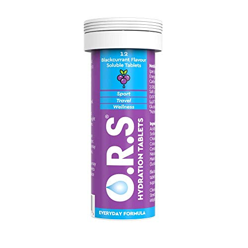 O.R.S Hydration Tablets with Electrolytes, Vegan, Gluten and Lactose Free Formula – Blackcurrant, 12 Tablets, 5060135050115