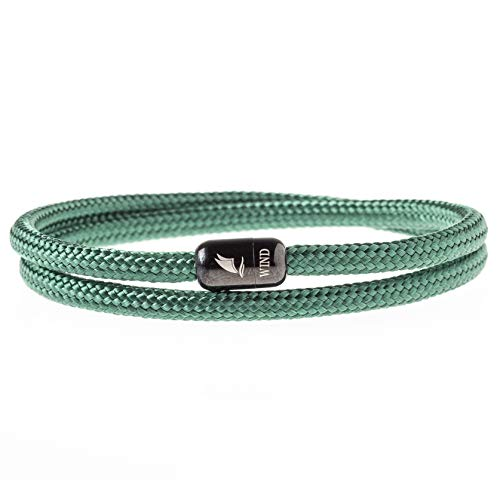 Wind Passion Durable Rope Cord Cuff Green Bracelet with Magnetic Clasp for Men Women, XX-Large Size (Go Green Bracelet)