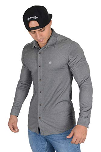 YoungLA Men's Dress Shirt Athletic Slim Fit Stretch Long Sleeve Bottom Down 415 Heather Black Medium