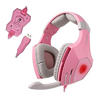 SADES® A60 Professional USB Dual Vibration Game Headset with High Sensitivity Mic, Stereo 7.1 Surround Sound Noise-Canceling Volume Control Wired Gaming Headphone with LED Changing Lightings - Pink