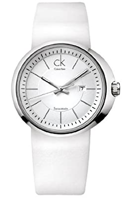 Calvin Klein Quartz, White Leather Strap with White Dial - Women's Watch K0H23101